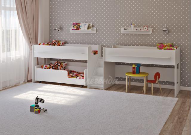 Трехъярусная кровать Легенда 23.5 белая