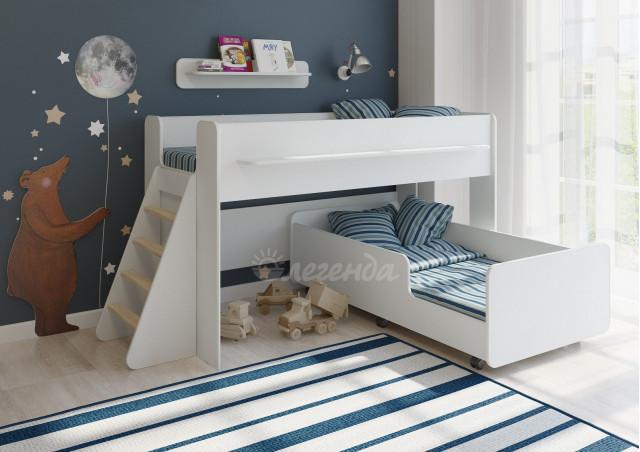Детская выкатная кровать Легенда 23.3 белая