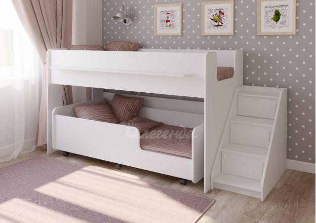 Детская выкатная кровать Легенда 23.4 белая